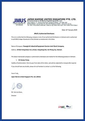 Jmus authorized distributor letter