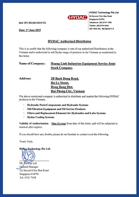 Hydac authorized distributor letter