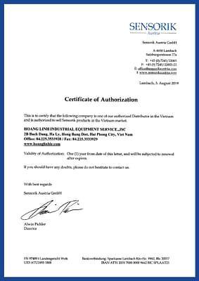 Sensorik authorized distributor letter