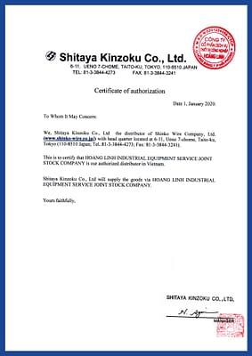Shitaya Kinzoku authorized distributor letter